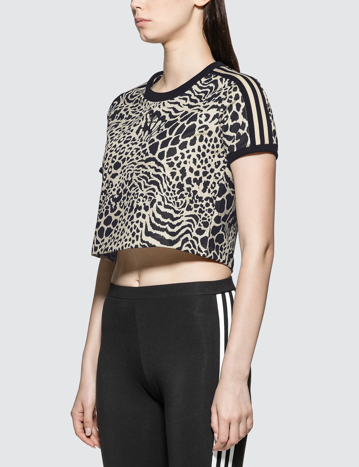 Adidas Originals Leopard Print 3 Stripes T-shirt