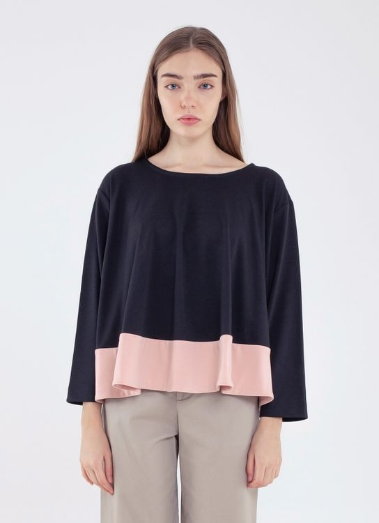 Argyle and Oxford Colorblock Flare Top - Black