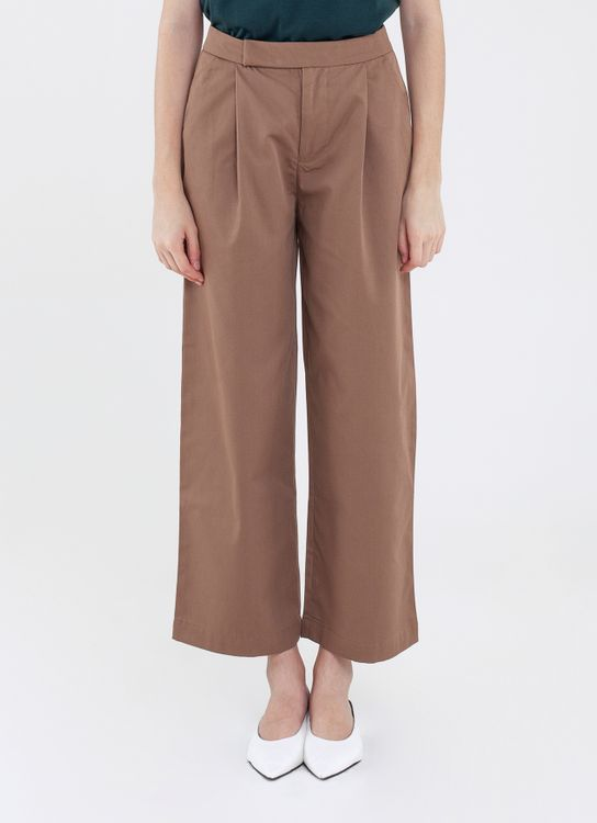 Argyle and Oxford Cotton Wide Trousers - Brown