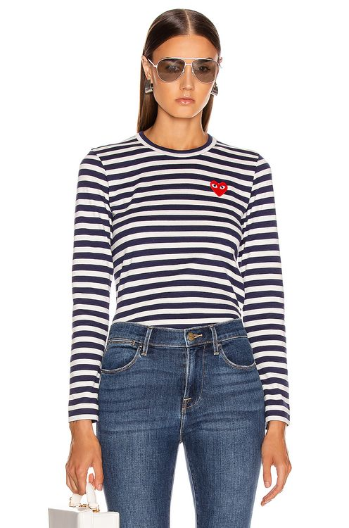 Comme Des Garcons PLAY Red Heart Striped Tee