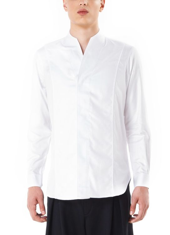 jan sober Panel Collarless Shirt - White