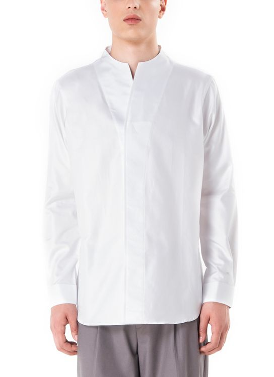jan sober Textured Collarless pt.I Long Sleeves Shirt - White