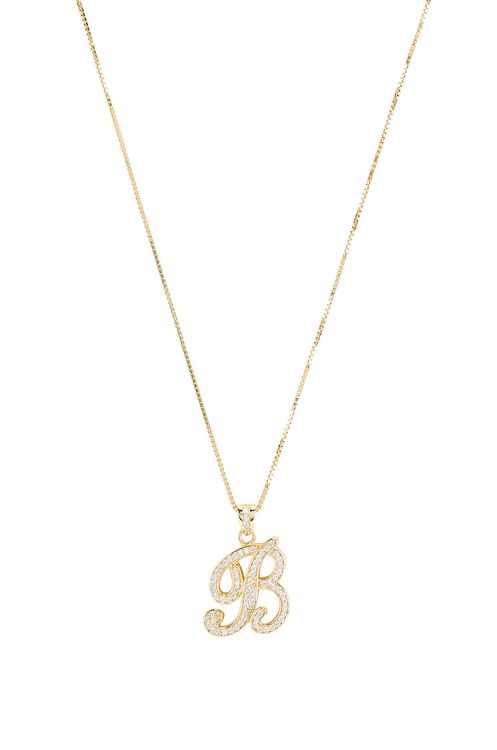 The M Jewelers NY The Iced Out Script Initial B Necklace