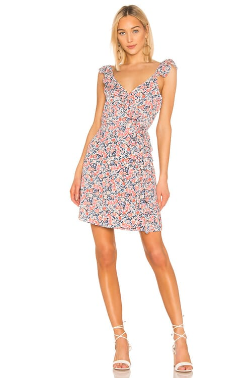 1. STATE Ruffle Edge Sunwashed Floral Wrap Dress