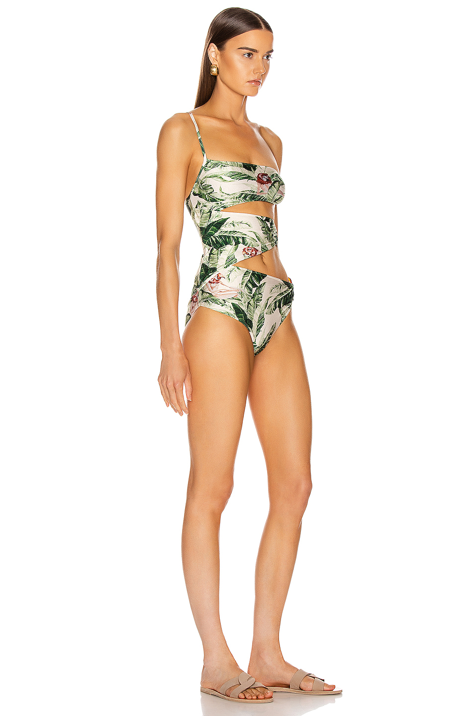 ADRIANA DEGREAS x Cult Gaia Tropical One Shoulder Swimsuit with Hoops