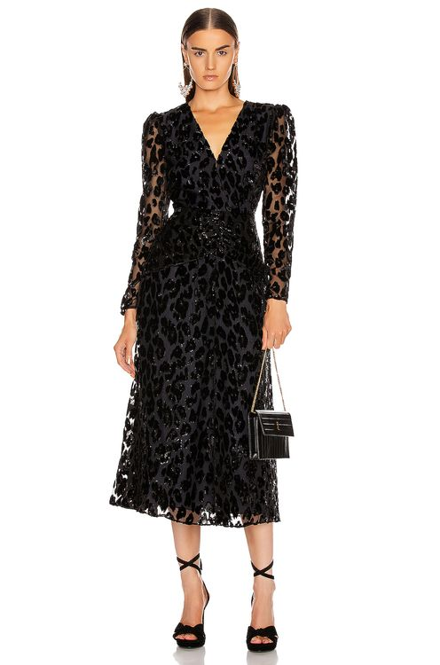 Self Portrait Metallic Leopard Midi Dress