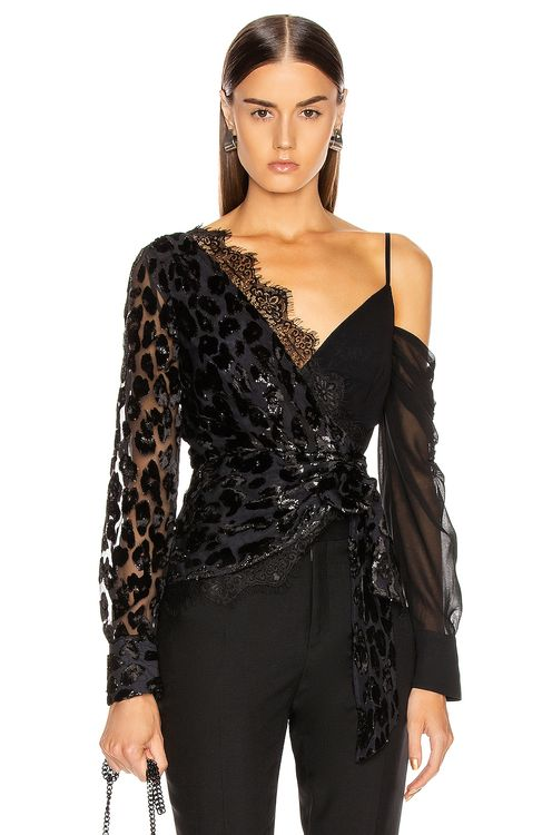 Self Portrait Metallic Leopard Wrap Top