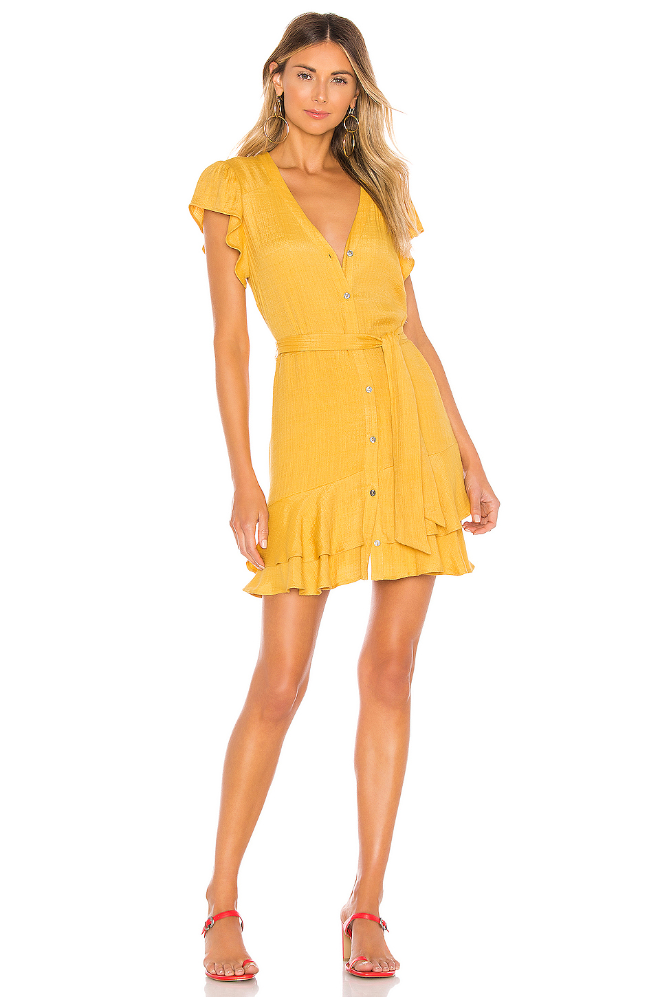 1. STATE Button Down Asymmetrical Ruffle Dress