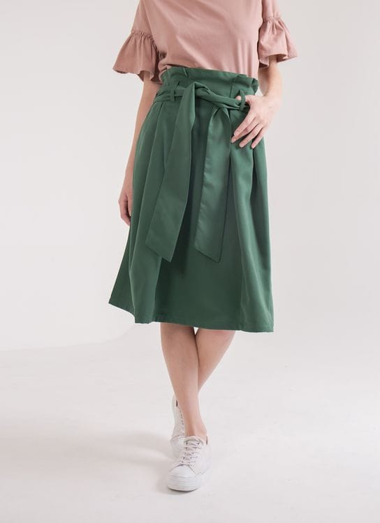 Earth, Music & Ecology Rei Belted Skirt - Dark Green