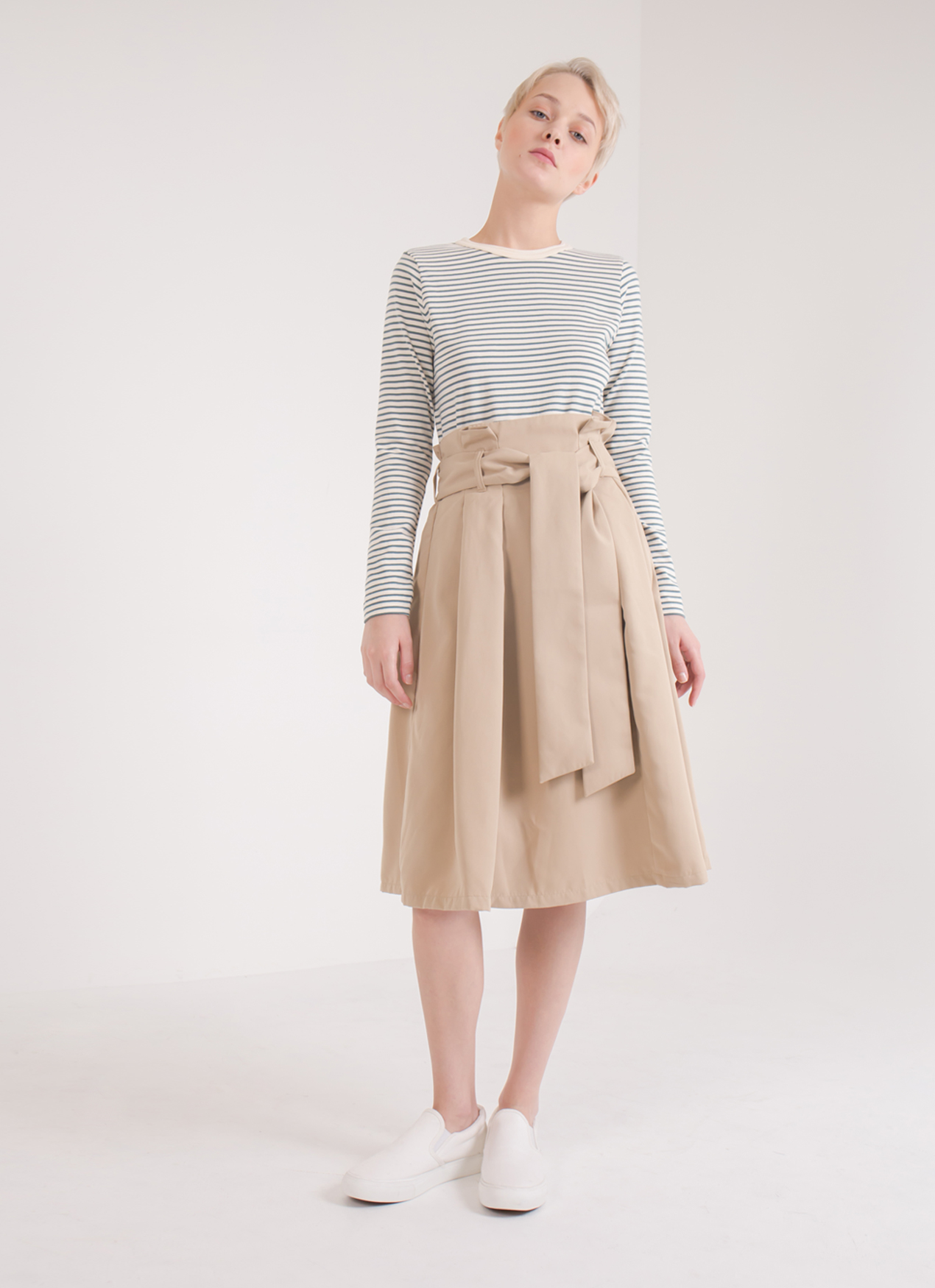 Earth, Music & Ecology Rei Belted Skirt - Beige