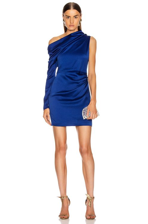 Cushnie Off the Shoulder Single Sleeve Mini Dress