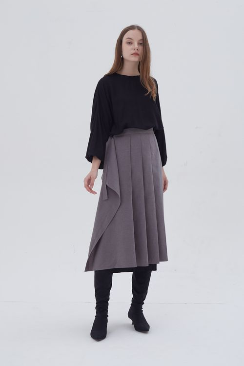 Shopatvelvet Rue Pleated Apron Skirt Grey