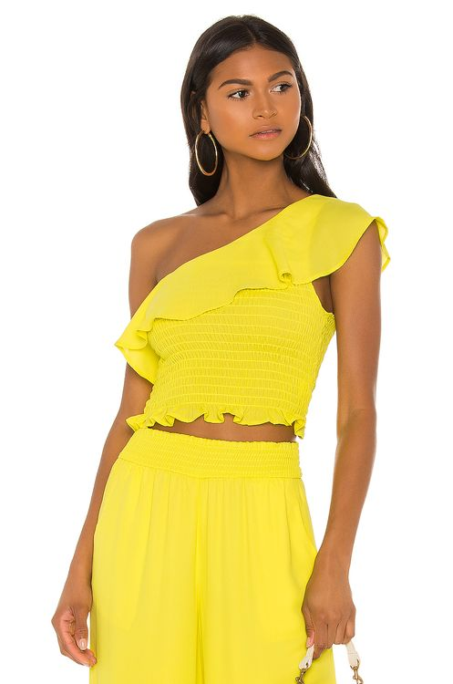 krisa One Shoulder Ruffle Top