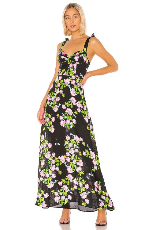 Cynthia Rowley Ten Rose Silk Maxi Dress