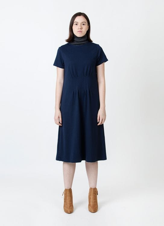 Wastu Doric Pillar Dress - Navy