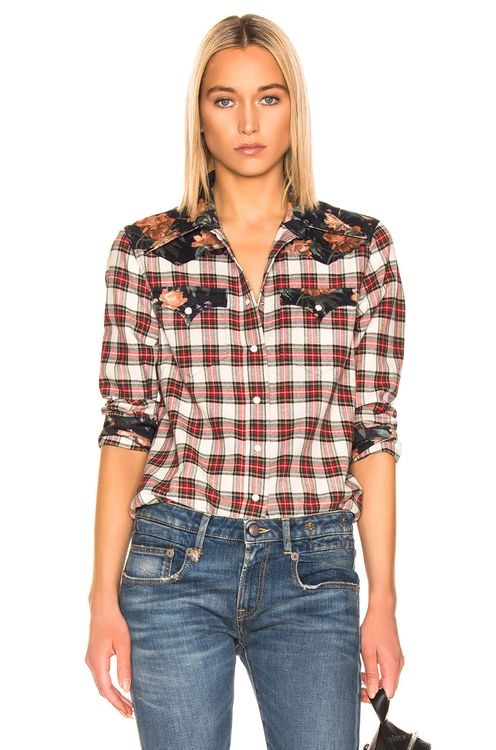 R13 Exaggerated Collar Cowboy Shirt