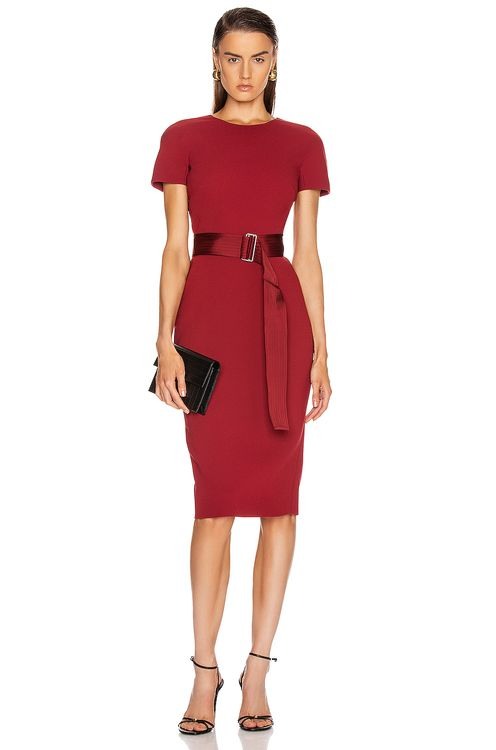 Victoria Beckham Belted T Shirt Fitted Dress