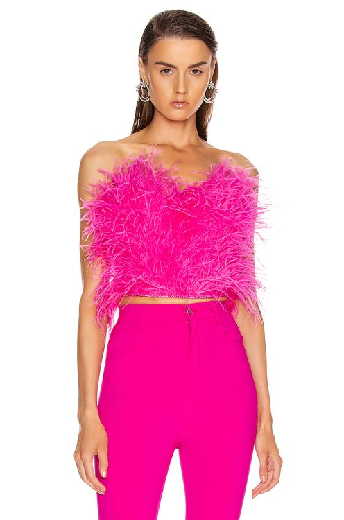 Attico Ostrich Feather Embroidered Top