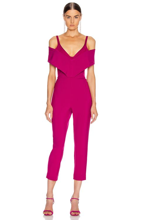 Cushnie Off the Shoulder Cropped Jumpsuit