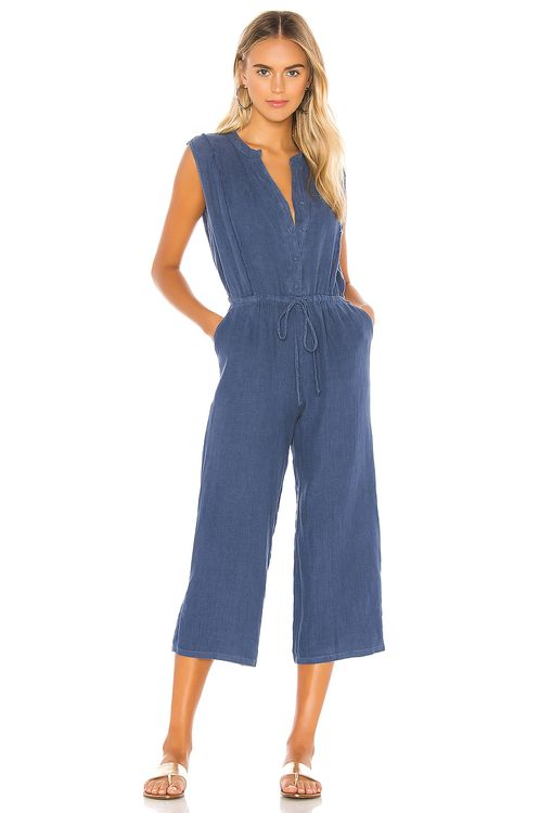 krisa Button Front Cropped Jumpsuit