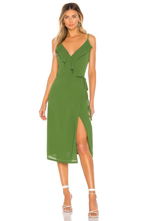 1. STATE Spaghetti Strap Flounce Wrap Dress