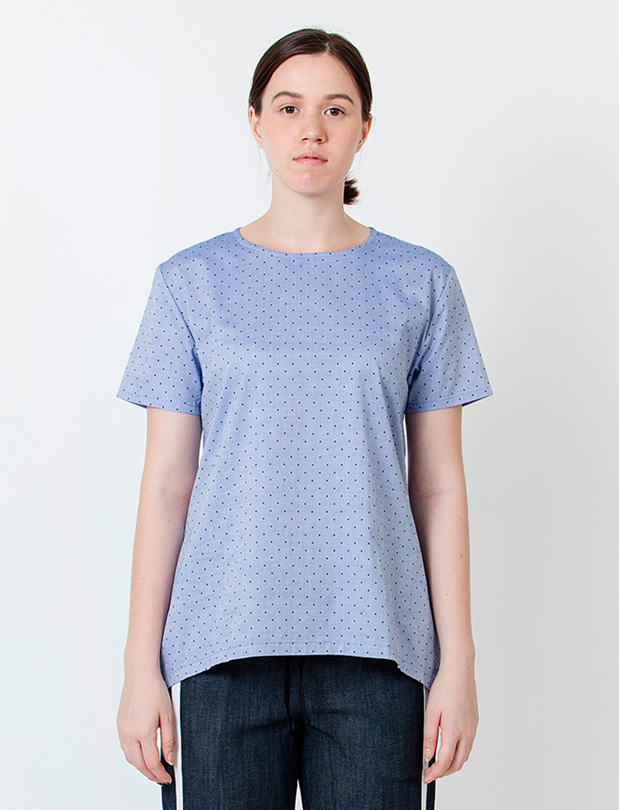 Wastu Polkadot Short Sleeve Apron Top - Blue