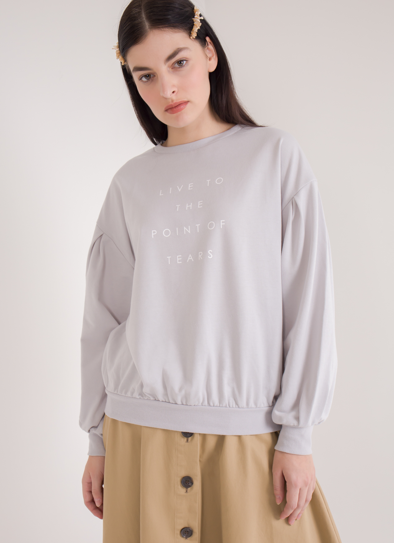 E-hyphen World Gallery Clara Top - Light Gray