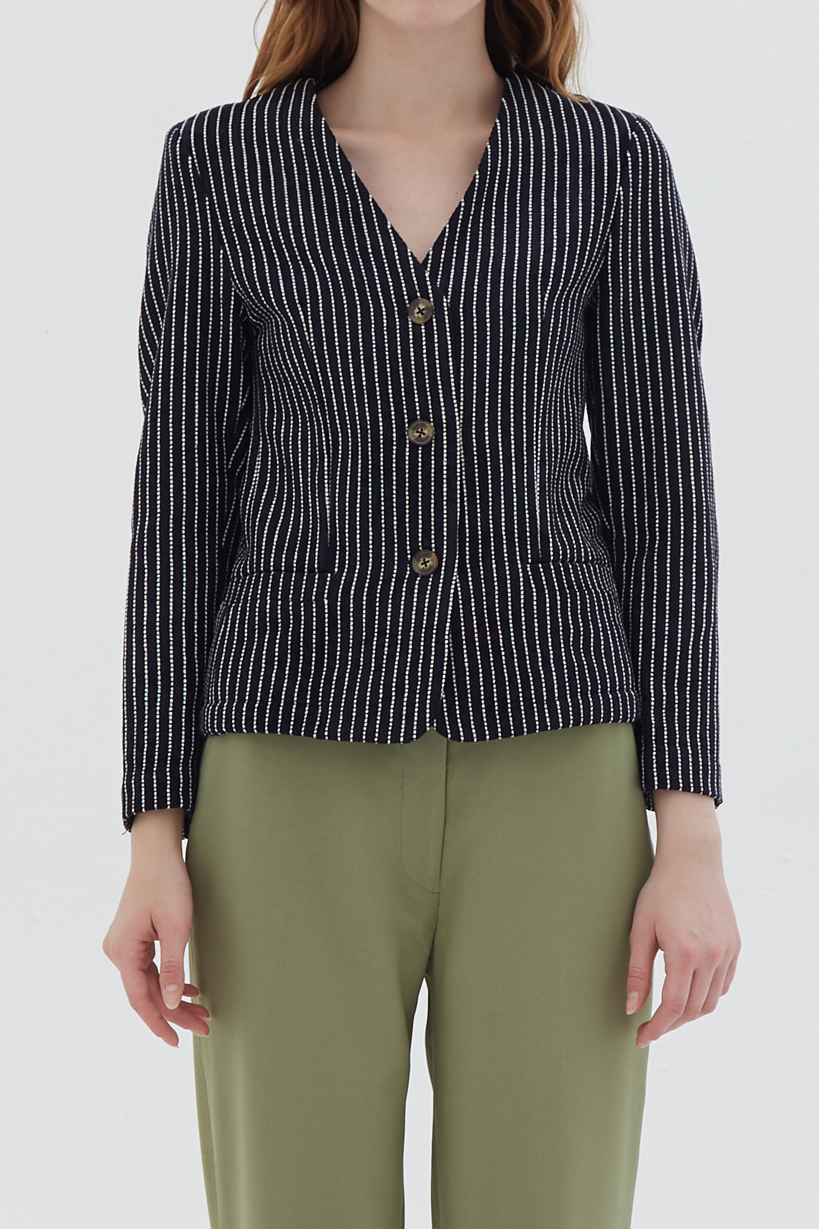 Shopatvelvet Ports Blouse Black Stripe