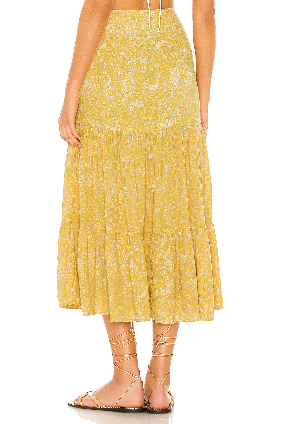 Indah Bolare Printed Modern Cowgirl Tiered Midi Skirt