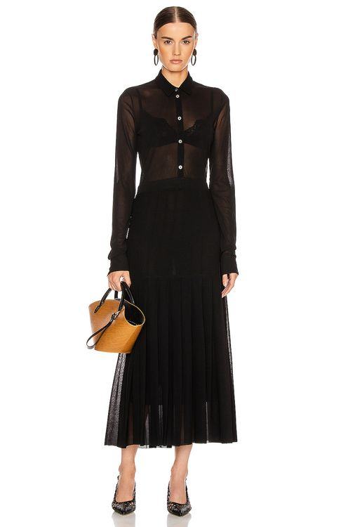 Jil Sander Pleated Long Sleeve Dress