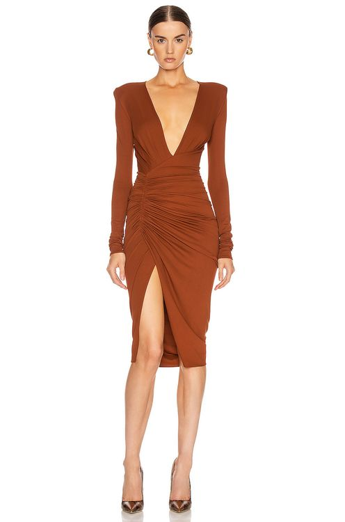 ALEXANDRE VAUTHIER Ruched Midi Dress