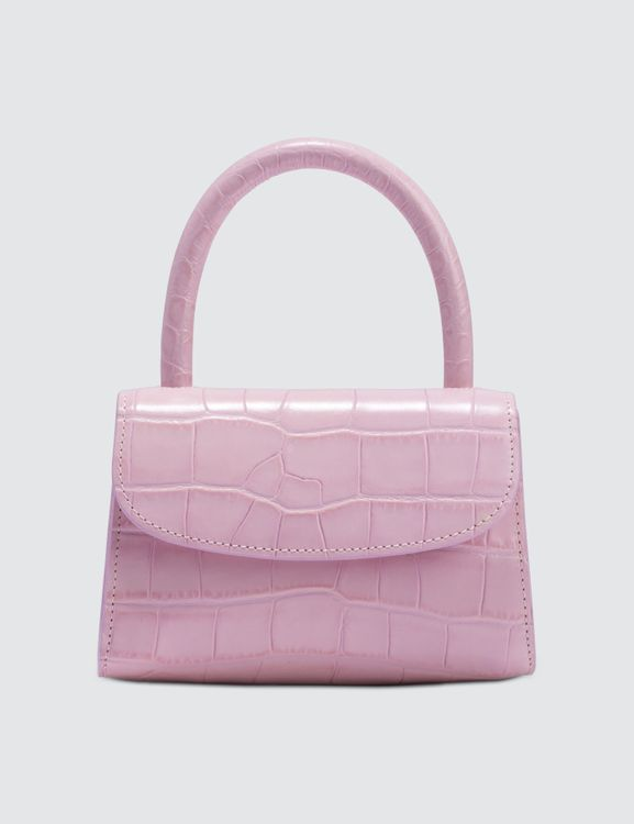 By Far Mini Pink Croco Embossed Leather Bag