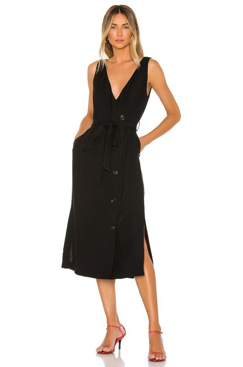 1. STATE Button Front Faux Wrap Midi Dress