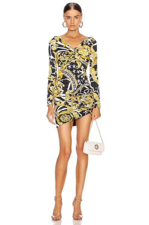 Versace Print Mini Bodycon Cocktail Dress