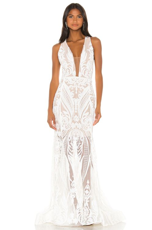 Bronx and Banco Ester V Neck Gown
