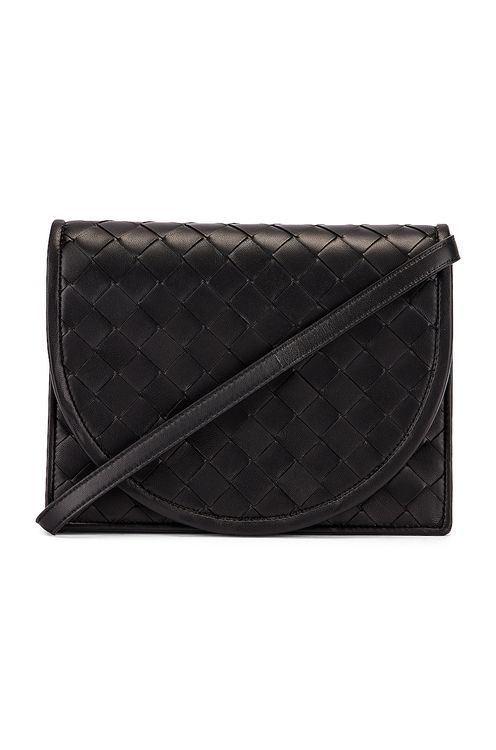 Bottega Veneta Woven Flap Leather Crossbody Bag