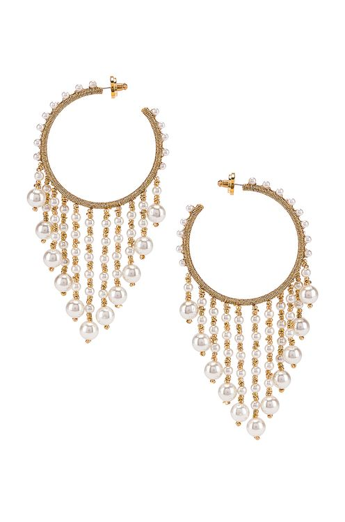 Oscar de la Renta Hoop Drop Earrings
