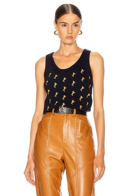Chloé Sleeveless Embroidered Horse Top