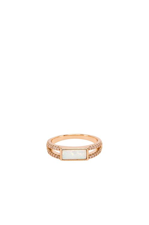 Elizabeth Stone Rectangle Cocktail Ring