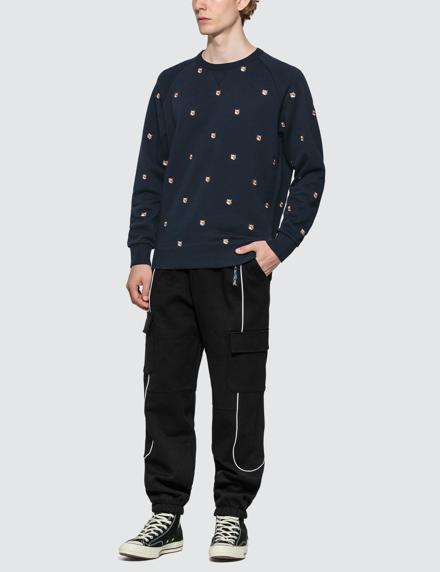 MAISON KITSUNE All-over Fox Head Embroidery Sweatshirt