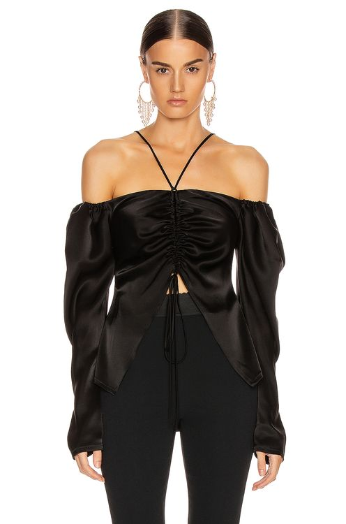 David Koma Off Shoulder Ruched Open Top