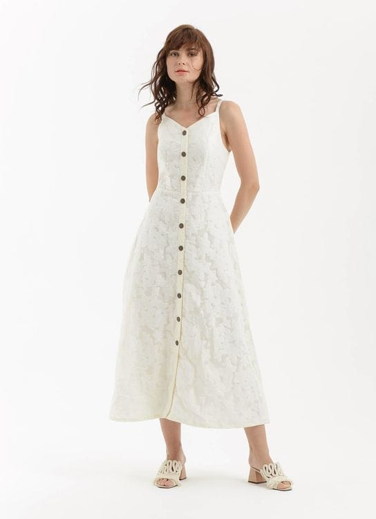 CLOTH INC Summer Lace Button Dress - White