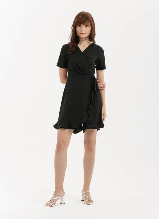 CLOTH INC Summer Ruffle Playsuit - Black