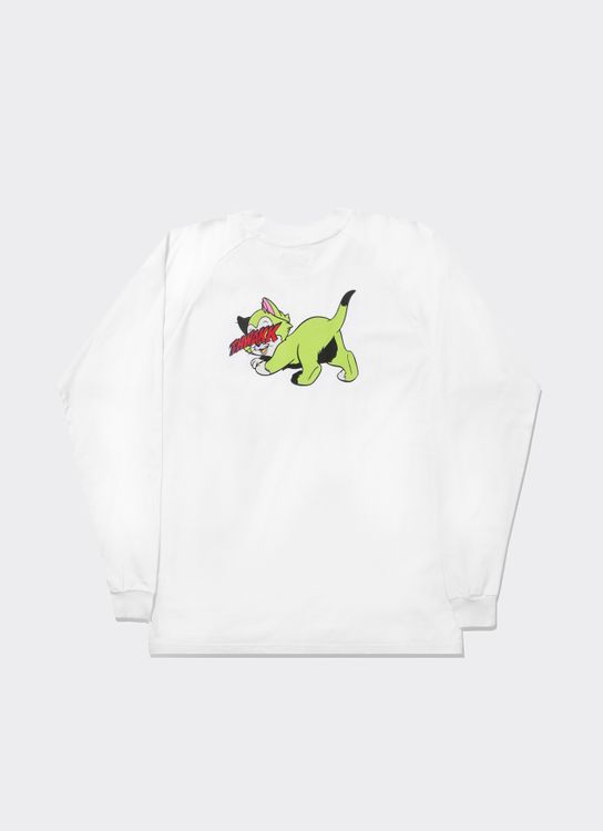 The Damn Sleeve White Cat Light Green Raglan Tee - White