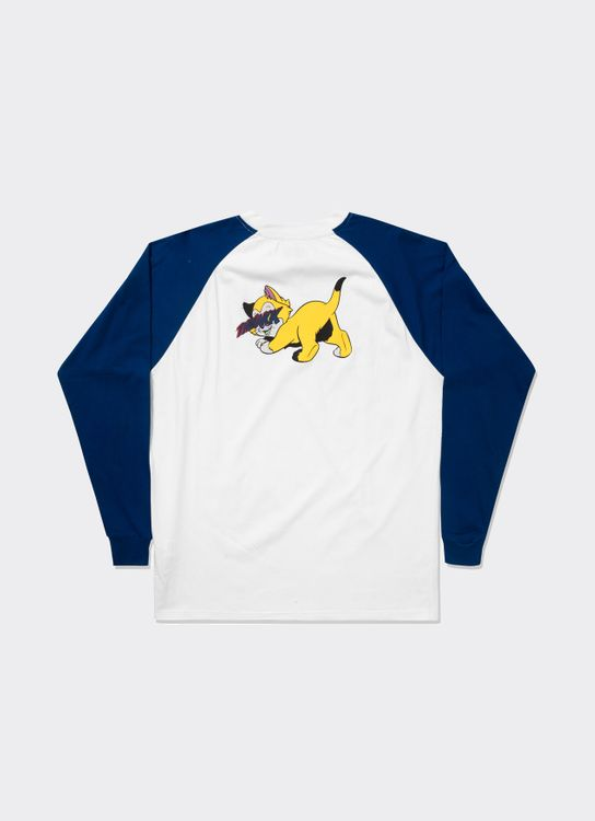 The Damn Sleeve Blue Cat Yellow Raglan Tee - White & Blue