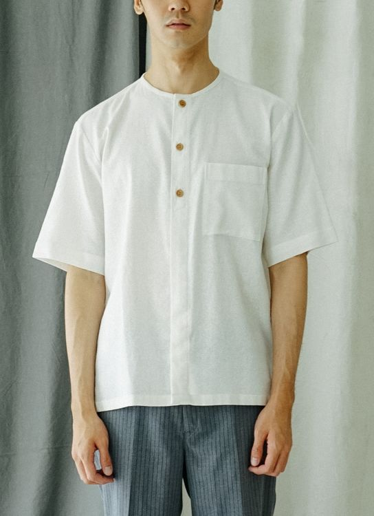 Noetic Wear Linen collarless Shirt - Off White
