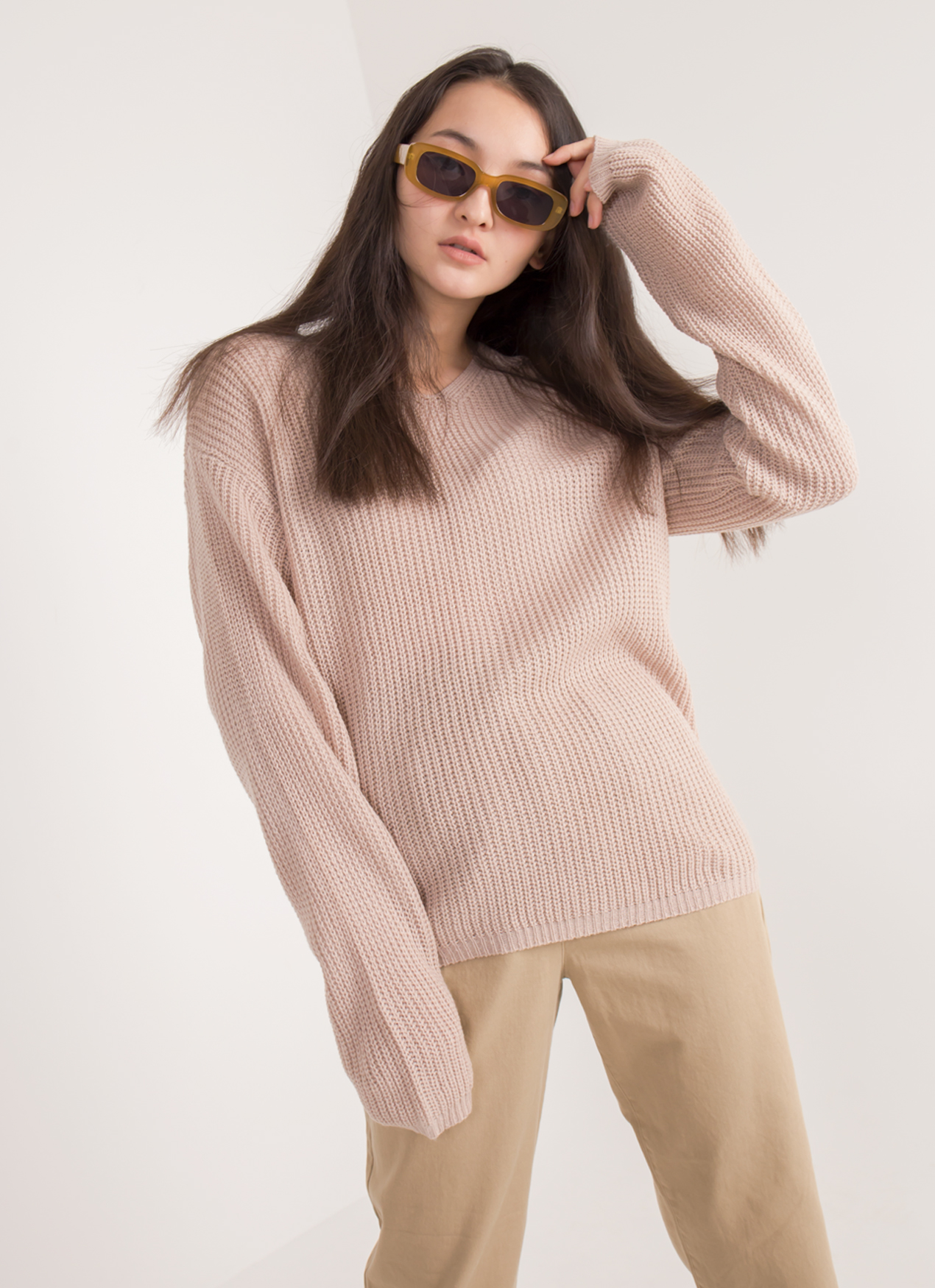 E-hyphen World Gallery Sakura Sweater - Pink Beige