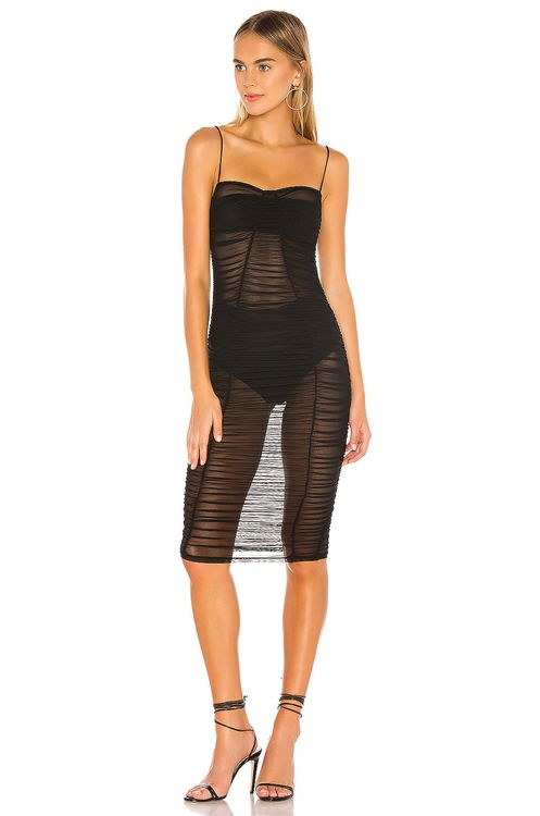 super down Belinda Ruched Mesh Dress