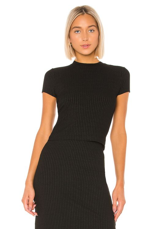 David Lerner Cap Sleeve Crew Neck Crop Top