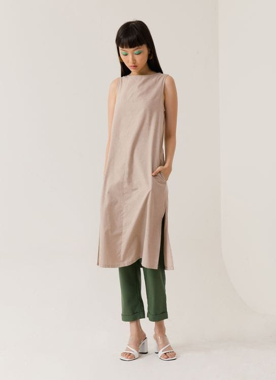 ATS THE LABEL Paloma Creme Long Top - Cream